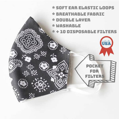 Face Mask With Filter - Black Bandana