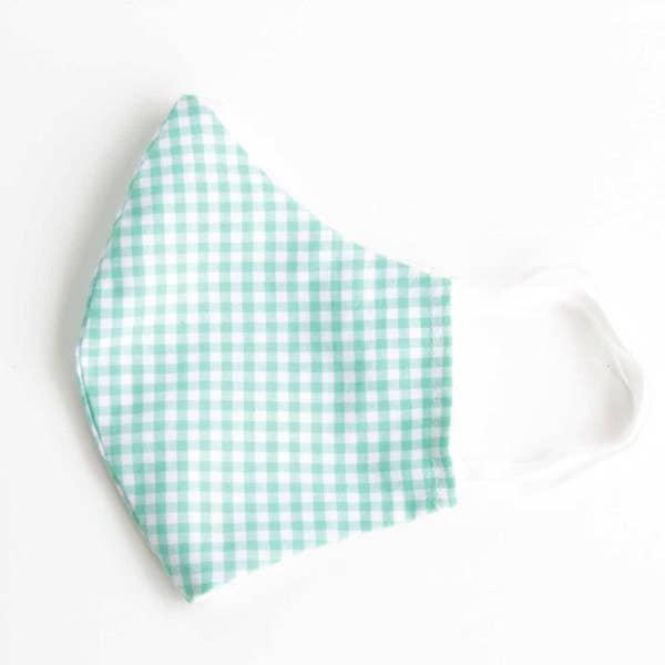 Face Mask-For Children Seafoam Gingham
