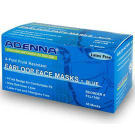 Face Masks  3 Fold, 3 Ply Fluid Resistant 50 Count (Adenna)