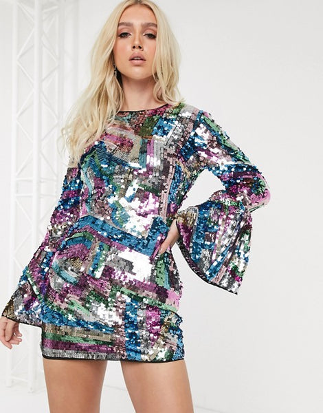 Long Sleeve Sequin Embellished Mini Dress With Open Back
