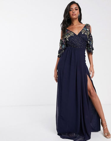 Virgos Lounge maxi dress with embellished cold shoulder sleeve in navy