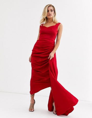 sweetheart plunge midi dress with extreme drape detail in red