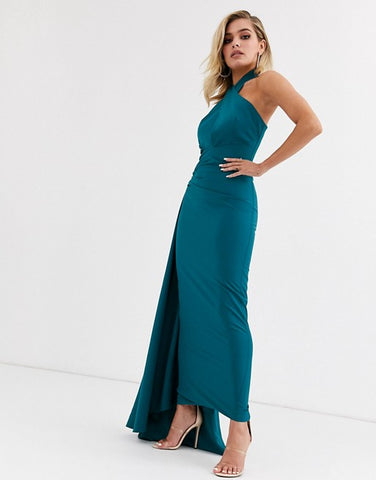 halterneck maxi dress with asymmetric train in teal
