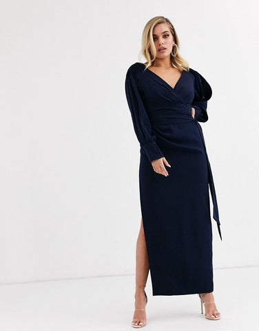 wrap front midaxi dress in navy