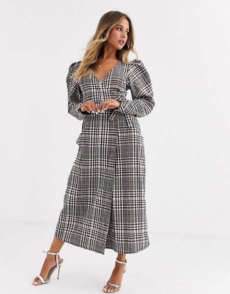 Wrap Maxi Dress With Puff Sleeves In Check