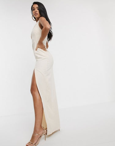 Vesper one shoulder maxi dress with thigh split in stone
