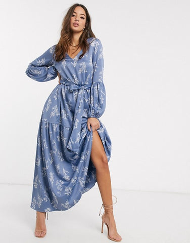 Y.A.S maxi dress with balloon sleeves in blue floral