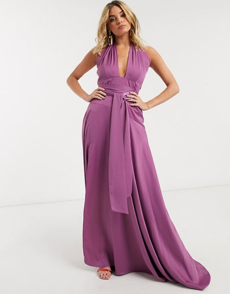 luxe satin maxi dress with cut out detail in lavender