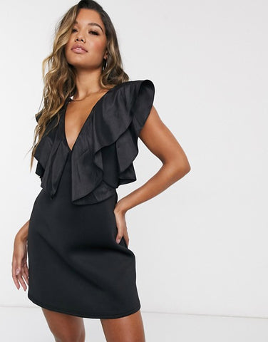 Strappy Taffeta Ruffle Neckline Mini Dress