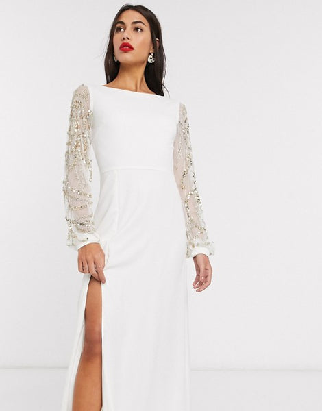 Virgos Lounge sheer long sleeve maxi dress with thigh split in cream