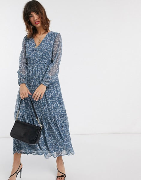 Vila maxi dress in blue ditsy floral
