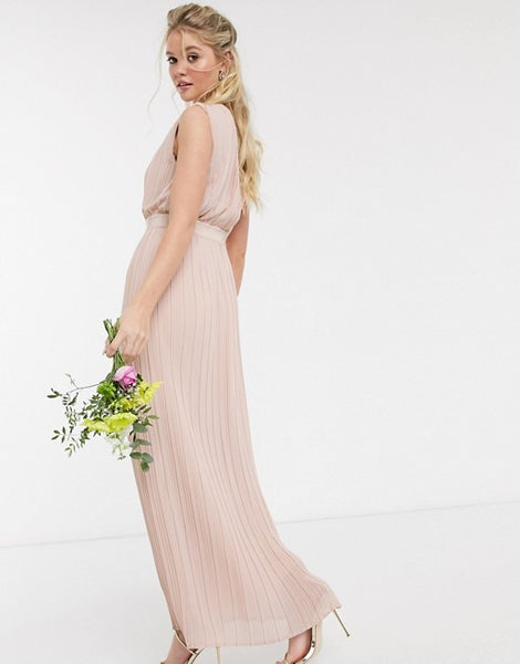 Y.A.S pleated maxi dress with deep v neck in pink