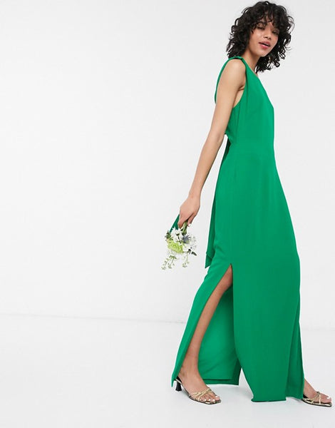 Whistles bridesmaid tie back maxi dress in green