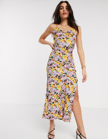 Warehouse maxi cami dress in crowded floral
