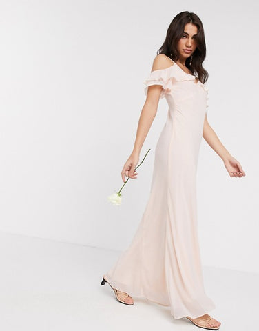 Warehouse bridesmaids cold shoulder frill maxi dress with button back in blush pink