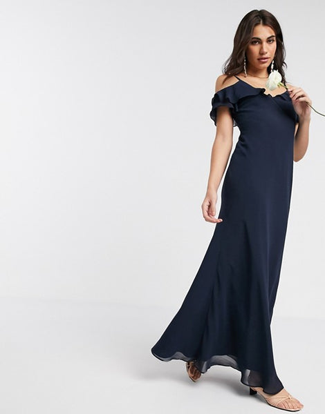 Warehouse bridesmaids cold shoulder frill maxi dress with button back in navy