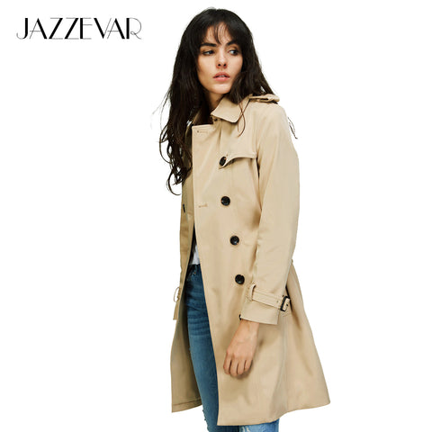 JAZZEVAR New Brand Classic Double Breasted Trench Coat