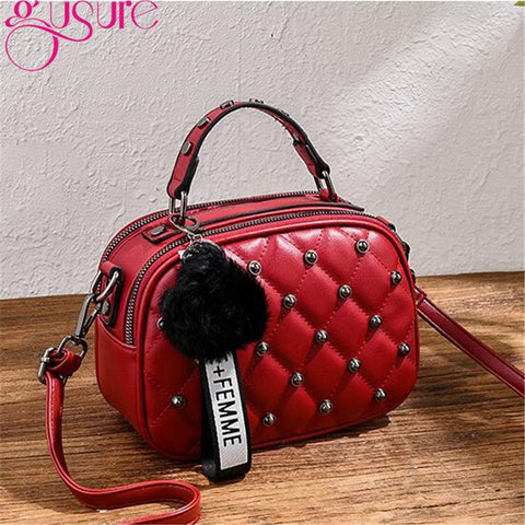 Gusure Plaid Rivet Lady Crossbody Bags