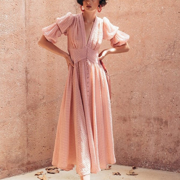 Elegant Women Pink V Neck Lantern Sleeve Long Dress