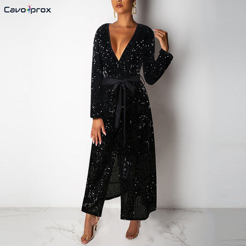 Women Long Sleeve Sequined Wrap Belt Slit Party Dress