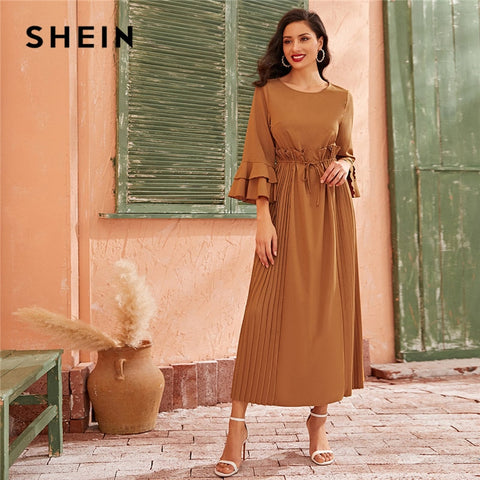 Shein Camel Tiered Layer Bell Sleeve Ruffle Trim Dress