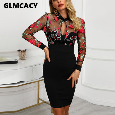 Women Sheer Mesh Floral Embroidery Bodycon Dress