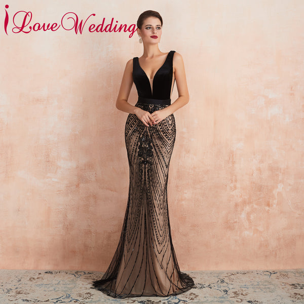 Formal Dress Sexy V Neck Black Lace Evening Dress