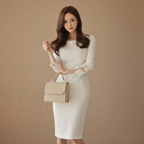 Women Patchwork White Lace Dress