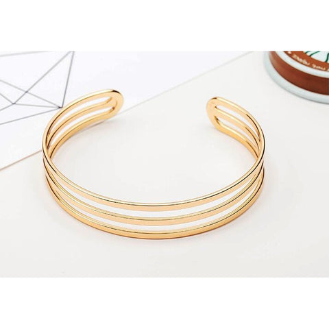 Gold Color Three Circle Adjustable Cuff Bracelets