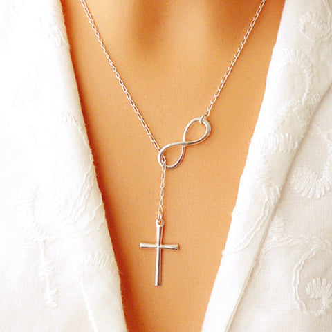 Lovely Chic Infinity Cross Long Silver Chain Pendant