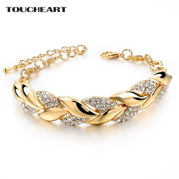 TOUCHEART Braided Gold color Leaf Bracelets