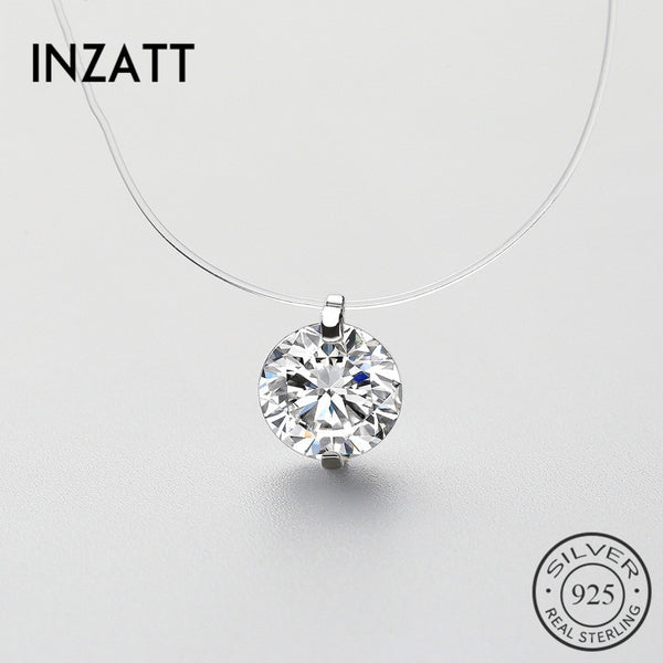 INZATT™ Sterling Silver Zircon Pearl Pendant Necklace
