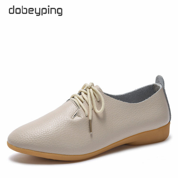 Genuine Leather Lace-Up Female Flats
