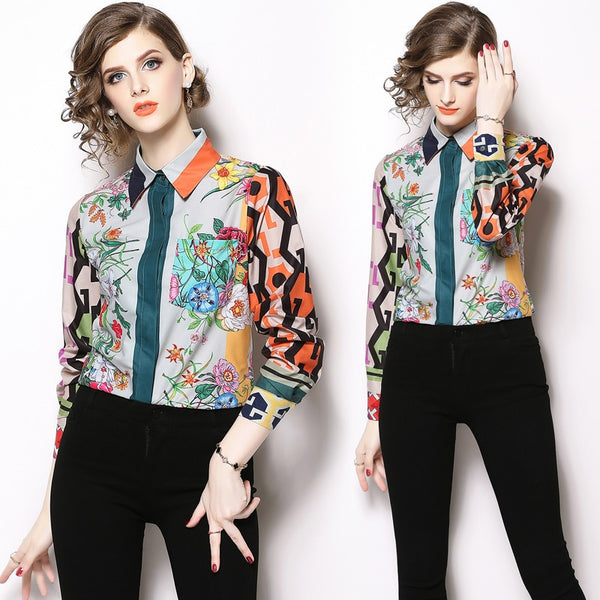 New Trendy Long Sleeved Vintage Print Casual Blouse