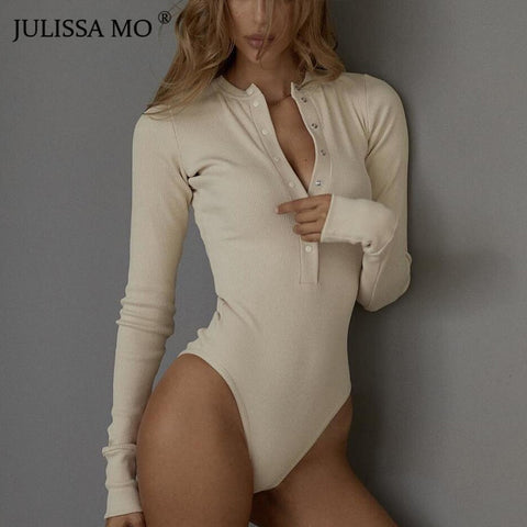 JULISSA MO Sexy V Neck Knitted Bodysuit