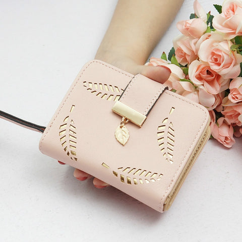 Ladies Zipper Buckle Hollow Leaf Purse