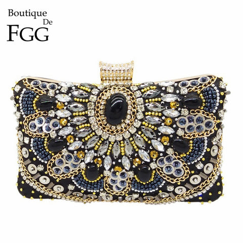 Boutique De FGG Vintage Black Beaded Evening Clutch Bags