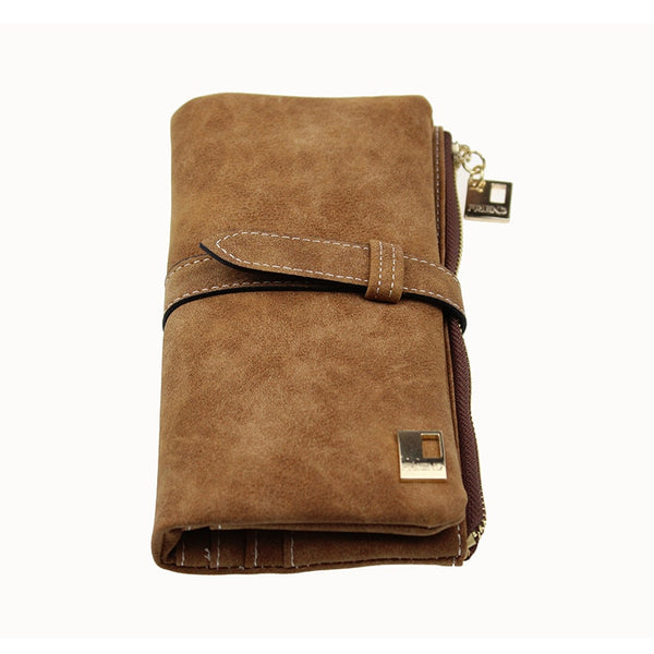 Drawstring Nubuck Leather Zipper Suede Wallet