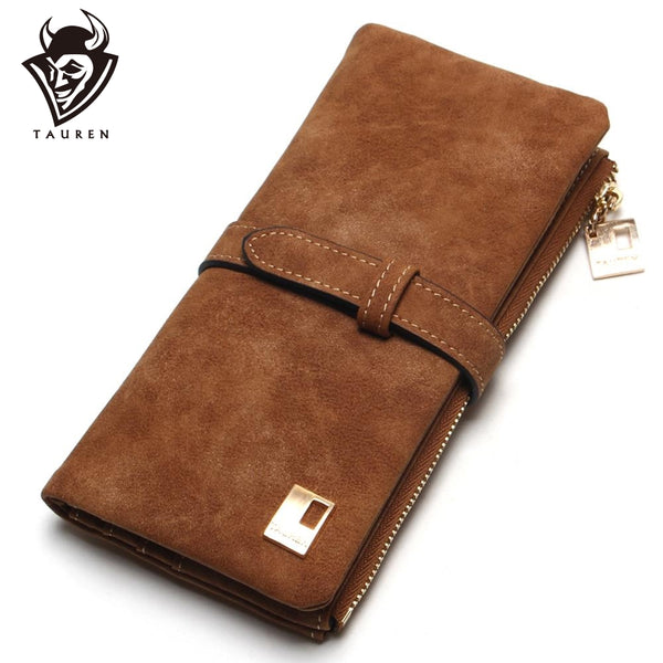 Drawstring Nubuck Leather Zipper Wallet
