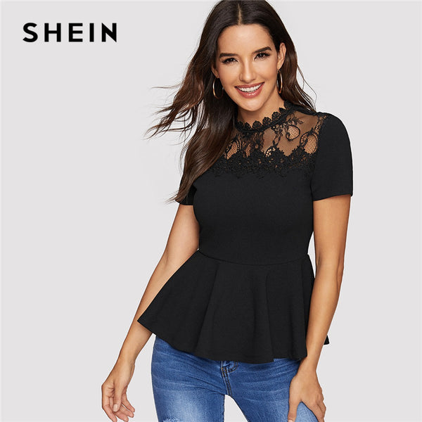 SHEIN Office Ladies Elegant Slim Fit Solid Blouses