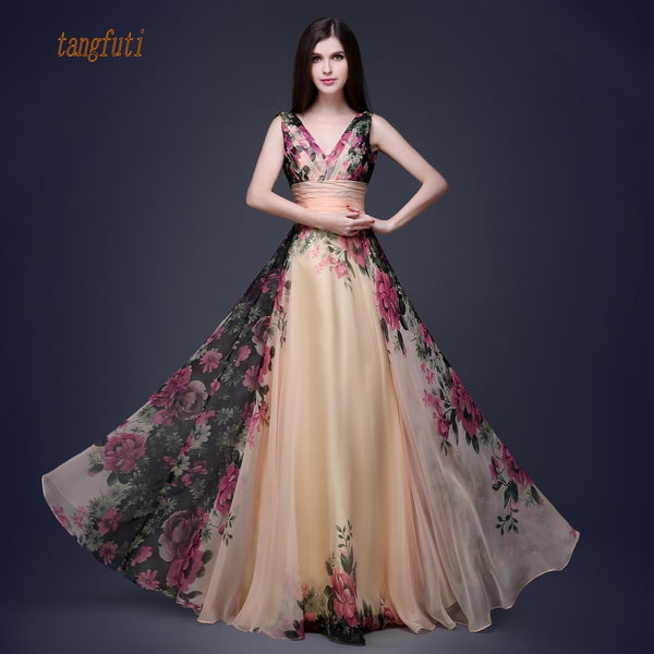 Chiffon Floral Print Long Evening Dress
