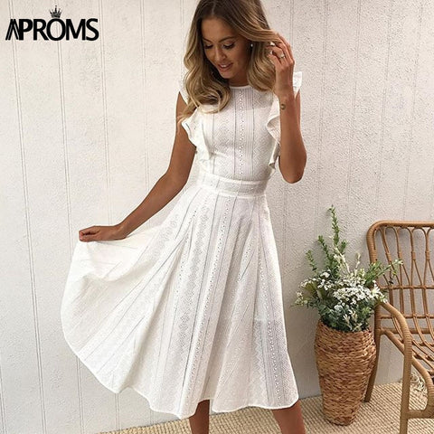 Aproms Elegant Ruffle White Lace Hollow Out Dress