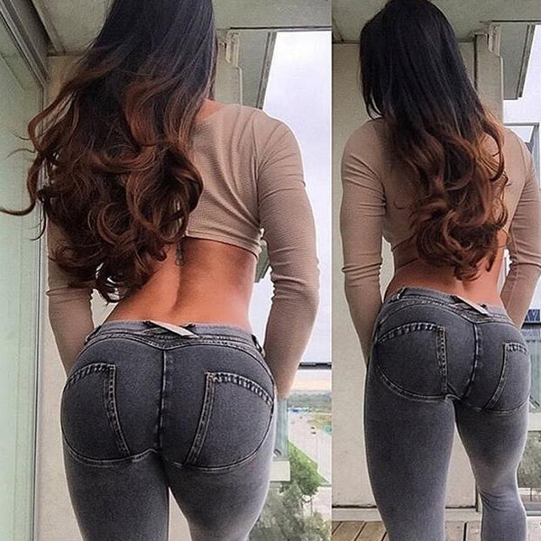 Fashion Women Solid Push Up Blue Sexy Denim Jeans