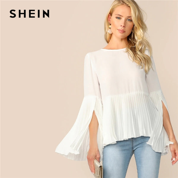 SHEIN Solid Zip Back Split Sleeve Pleated Top
