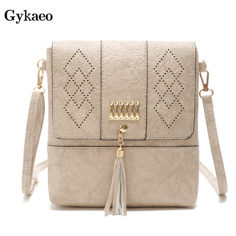 Gykaeo Hollow Out Cover Tassel Shoulder Bags