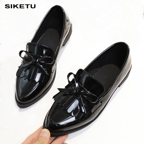 Woman Casual Tassel Bow Pointed Toe Black Oxford