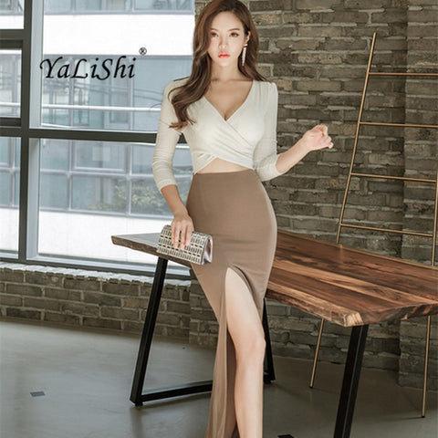Women Deep V-Neck High Split Women Dress
