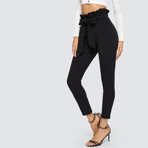 SHEIN Elegant Paperbag Waist Belted Detail Solid High Waist Pants