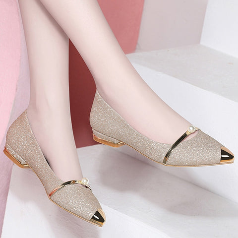 Summer Pearl Comfortable Pointed Toe Flat Shoes