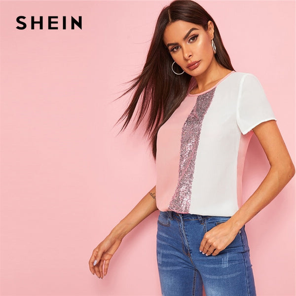 SHEIN Sequins Panel Spliced Cut-And-Sew Top